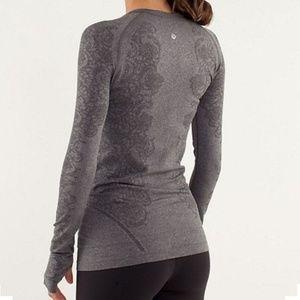 Lululemon Long Sleeve Swiftly Lace Heathered Grey